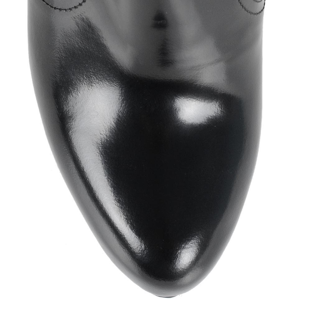 Полусапожки на шпильке Galliano из черной кожи и оливковой замши на молнии