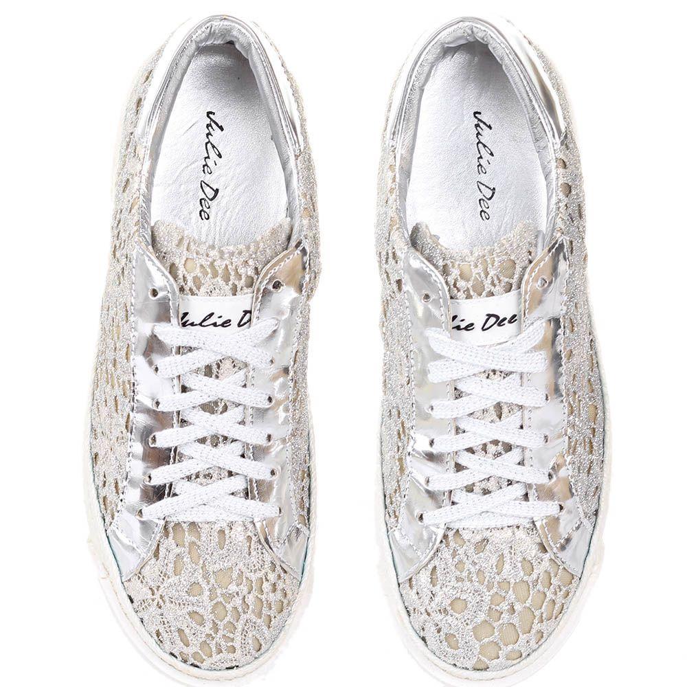 Слипоны на шнуровке The Seller Julie Dee из текстиля с серебристым кружевом