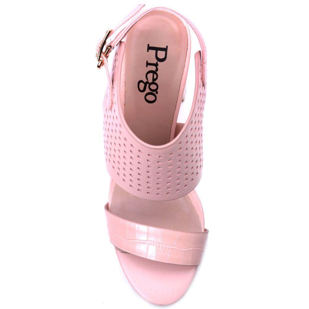 Босоножки Prego из натуральной розовой кожи с перфорацией и ремешком