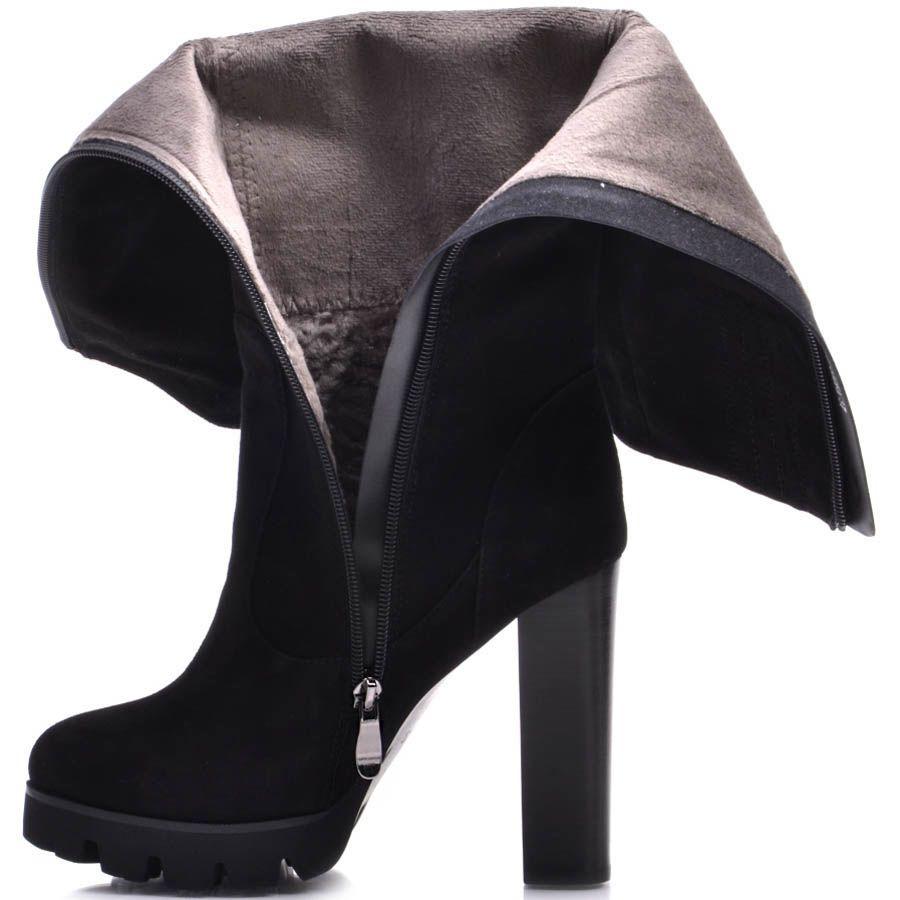 Сапоги Prego зимние замшевые черного цвета с каблуком высотой 12 см