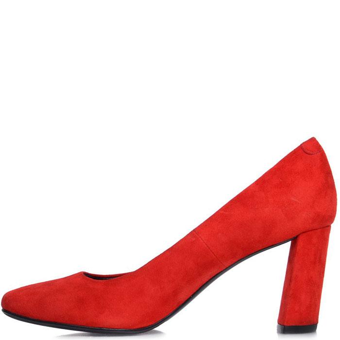 Туфли Prego из натуральной замши красного цвета на устойчивом каблуке