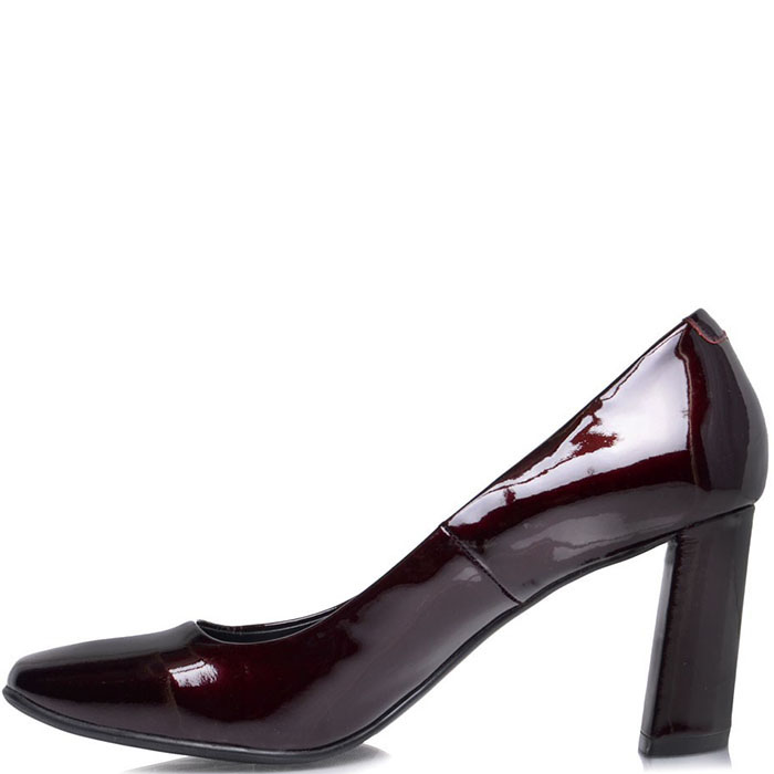 Туфли Prego из лакированной кожи бордового цвета на устойчивом каблуке
