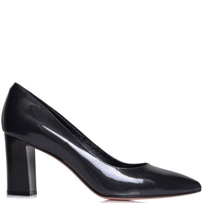 Туфли-лодочки Prego серого цвета на толстом каблуке
