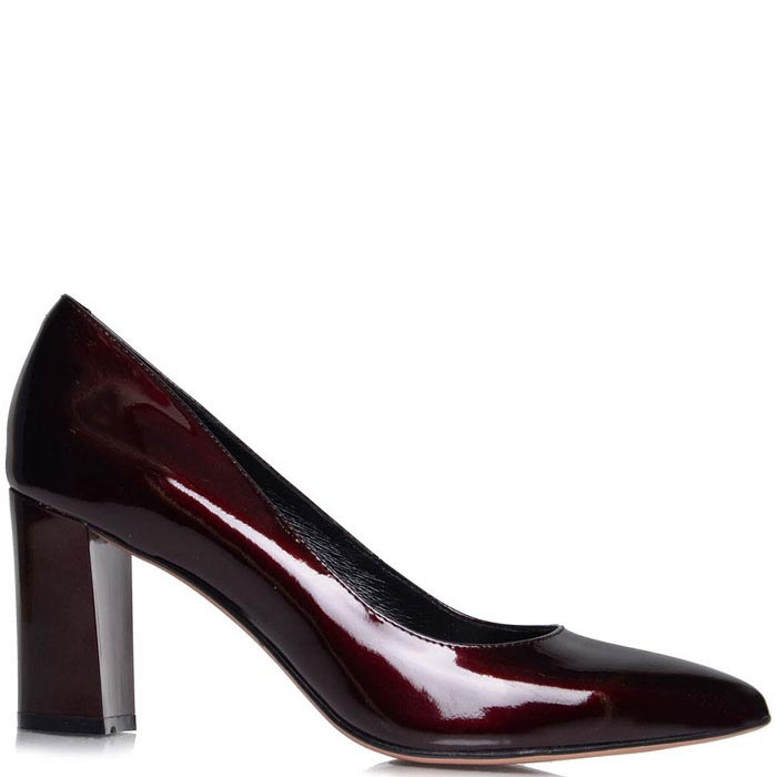 Туфли-лодочки Prego бордового цвета на толстом каблуке