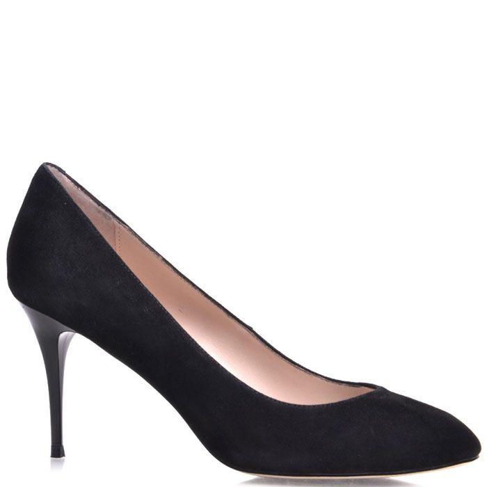 Туфли-лодочки Prego из натуральной замши черного цвета на высокой шпильке