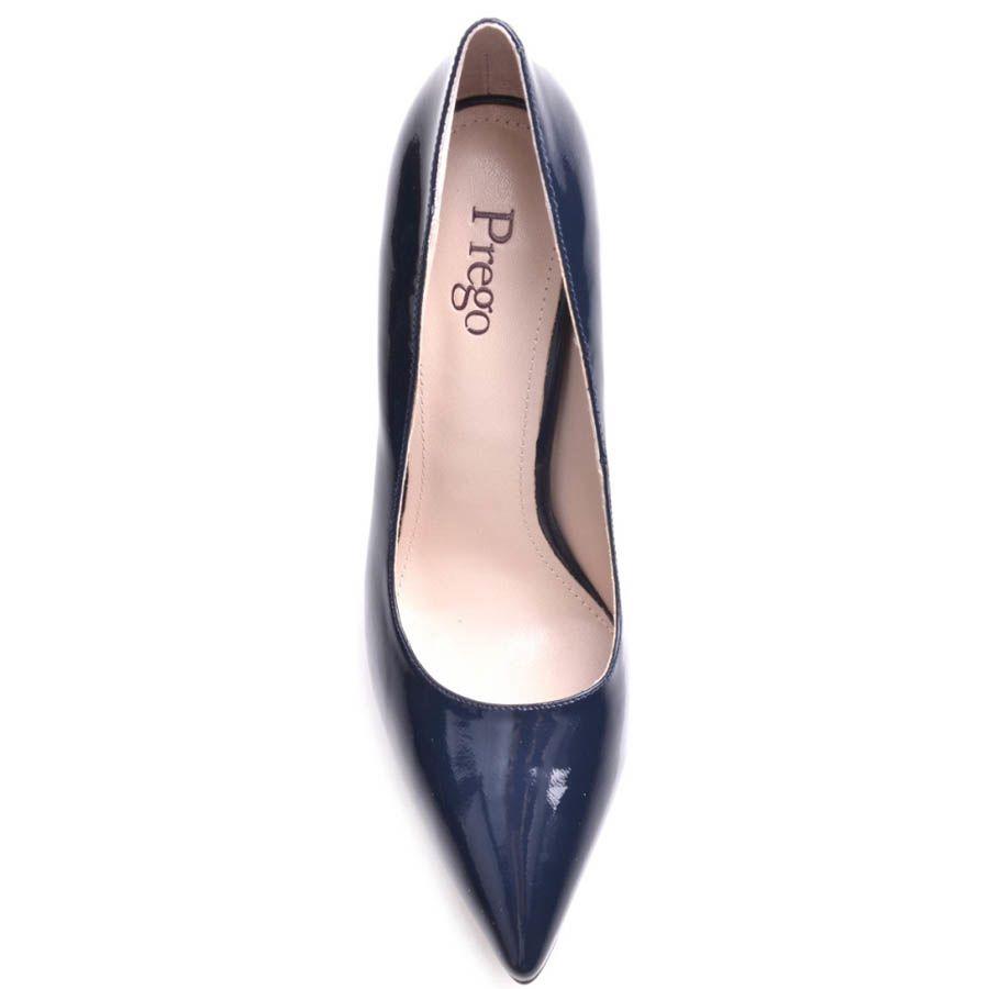 Туфли-лодочки Prego на шпильке глубокого синего цвета лаковые