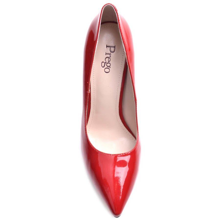 Туфли-лодочки Prego на шпильке красного цвета лаковые