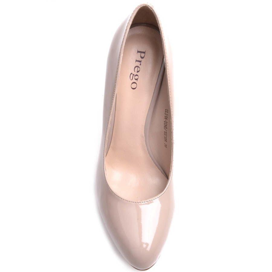 Туфли-лодочки Prego лаковые бежевого цвета на шпильке