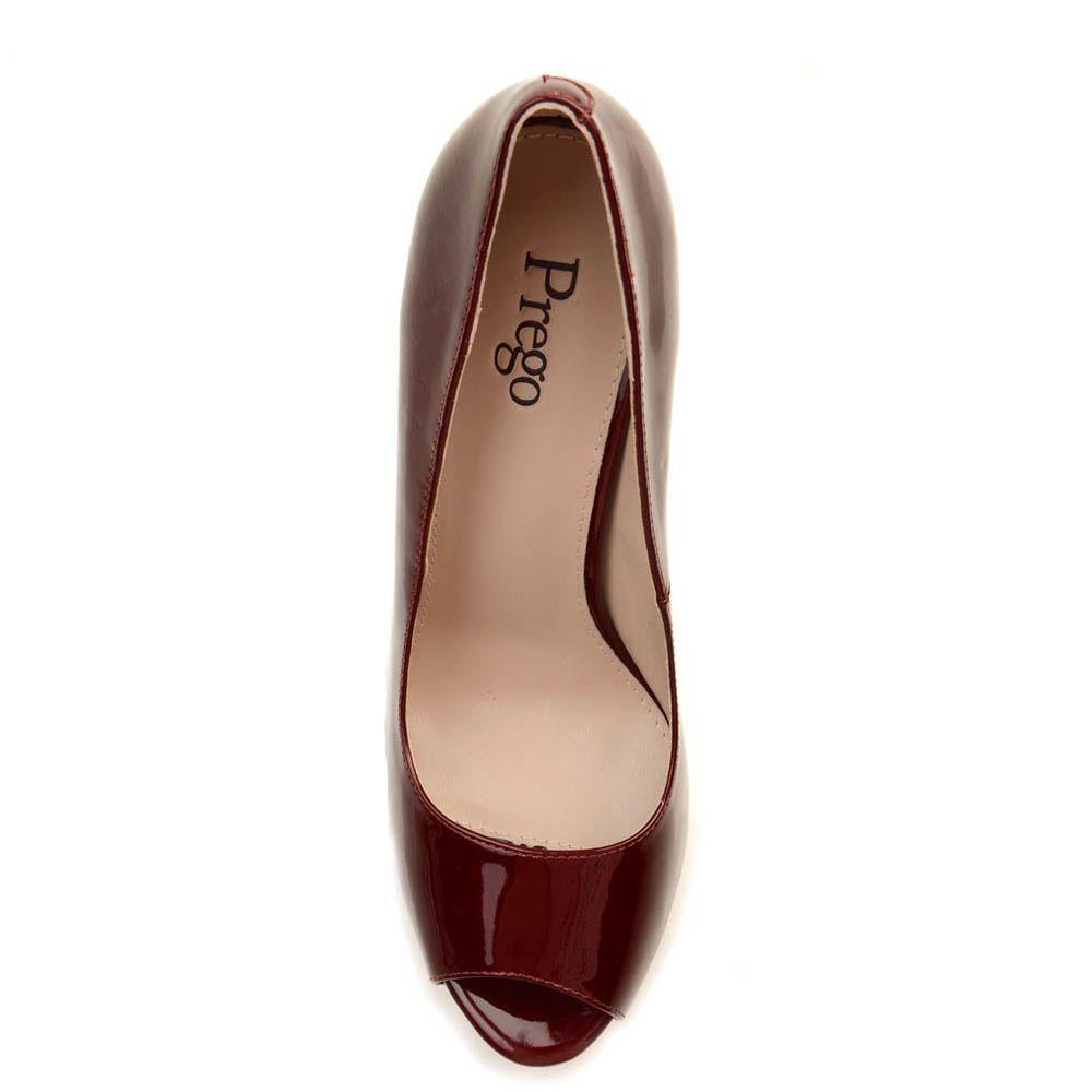 Кожаные туфли Prego бордового цвета на высокой шпильке
