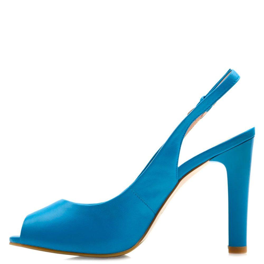 Кожаные босоножки Prego синего цвета на шпильке