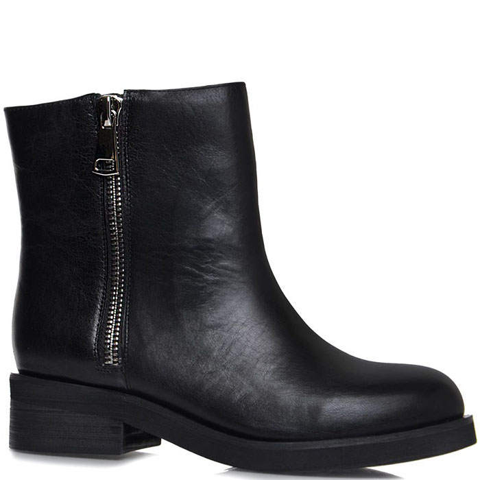 Высокие ботинки Prego из натуральной кожи черного цвета с металлической молнией
