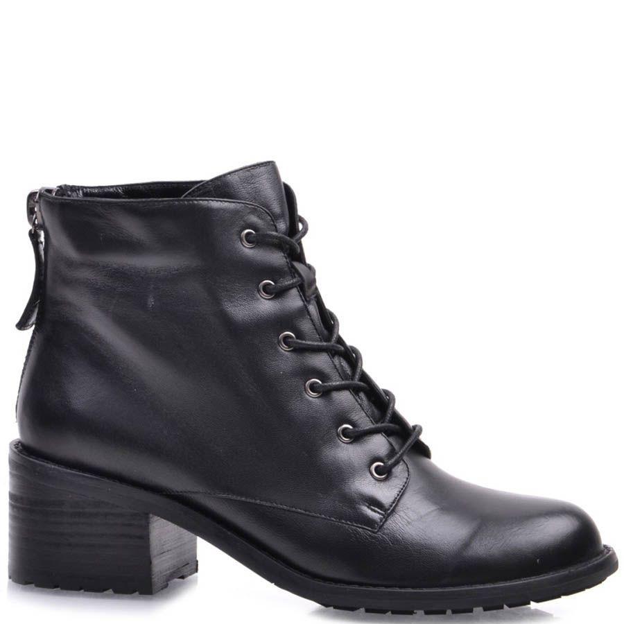 Ботинки Prego черного цвета со шнуровкой и молнией сзади