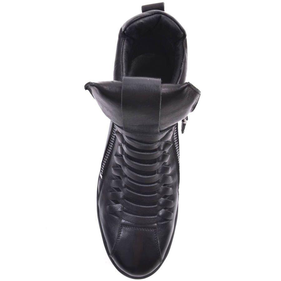 Сникеры Prego кожаные черного цвета с синими вставками на подошве
