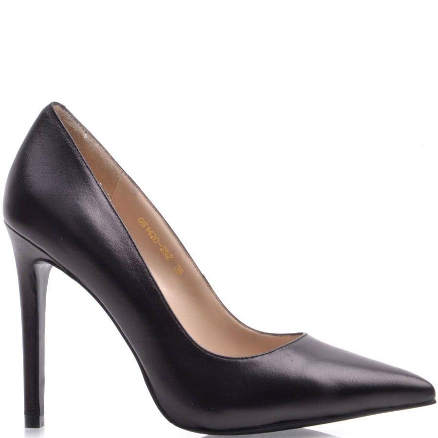 Туфли-лодочки Prego черного цвета с узким носком кожаные