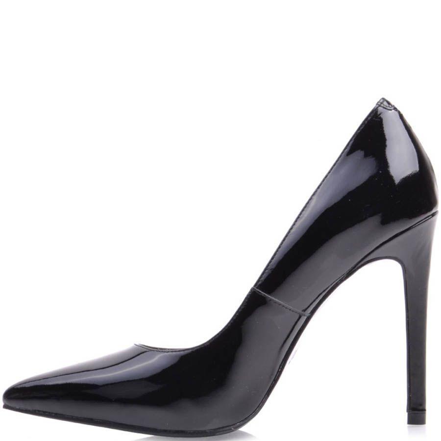 Туфли-лодочки Prego лаковые черного цвета с узким носком