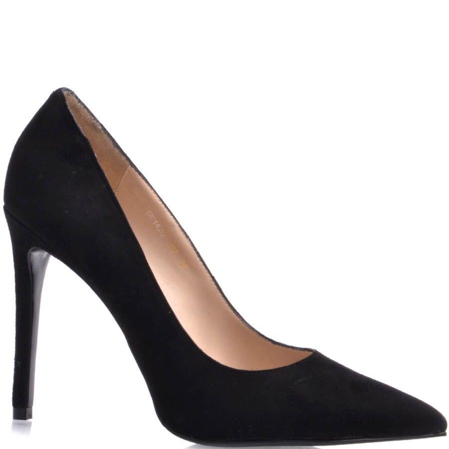 Туфли-лодочки Prego замшевые черного цвета с замшевым каблуком и с узким носком