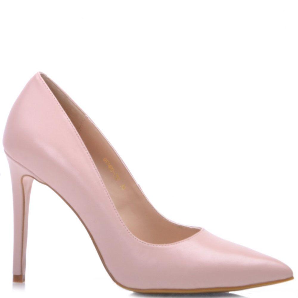 Туфли-лодочки Prego из светло-розовой кожи на высокой шпильке