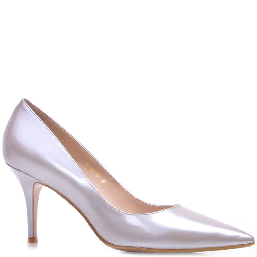 Кожаные лаковые туфли Prego серебристого цвета