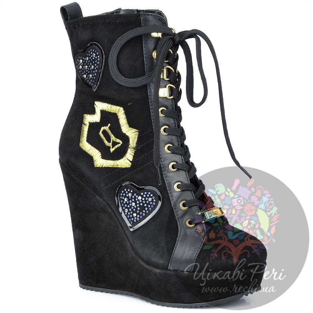 Ботинки Galliano на танкетке черные замшевые со шнуровкой и молнией
