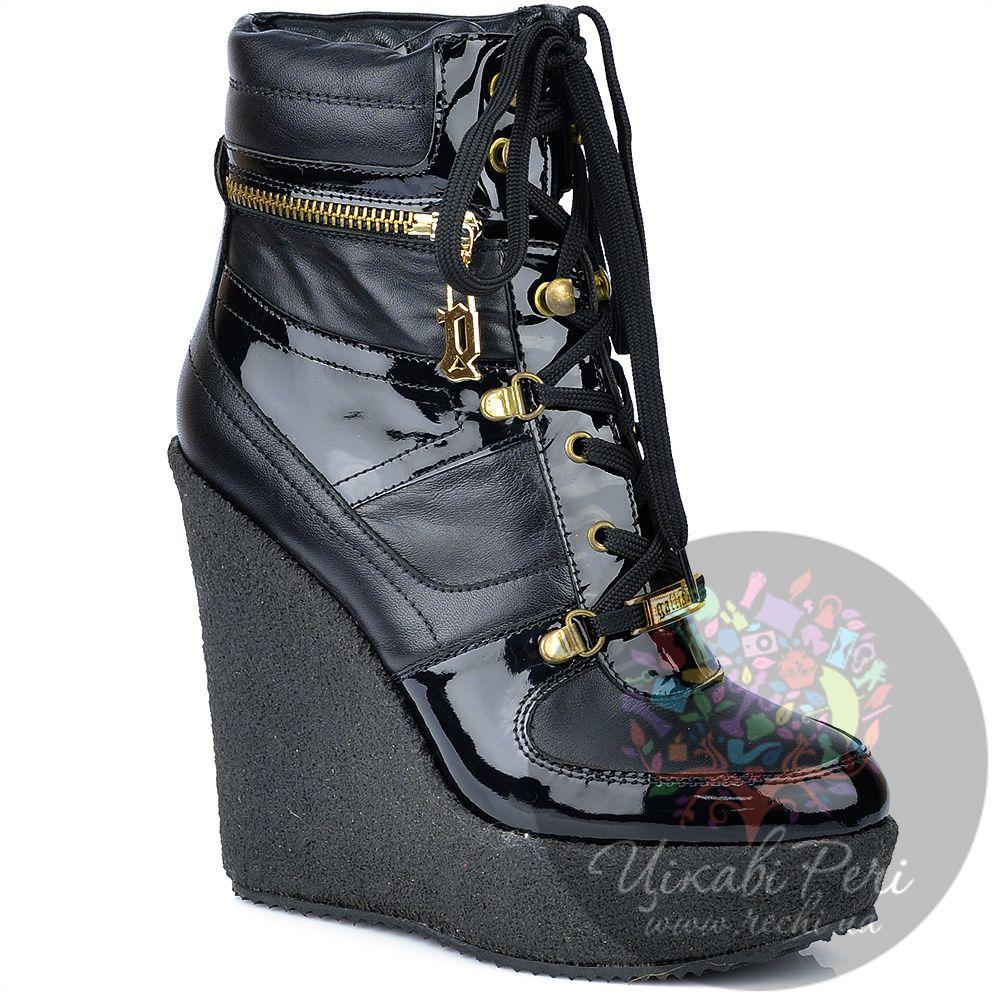 Ботинки Galliano на танкетке черные кожаные на шнуровке