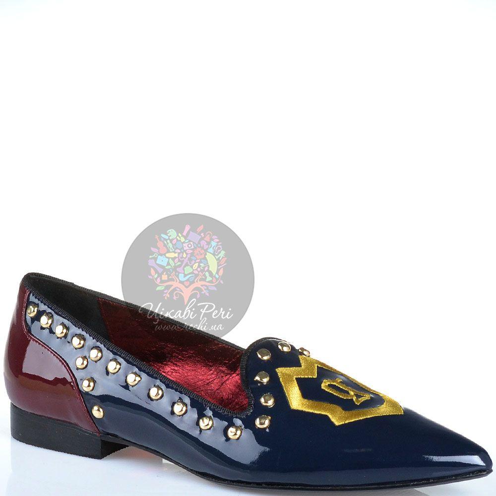 Слиперы Galliano с узким носком лаковые из темно-синей и бордовой кожи