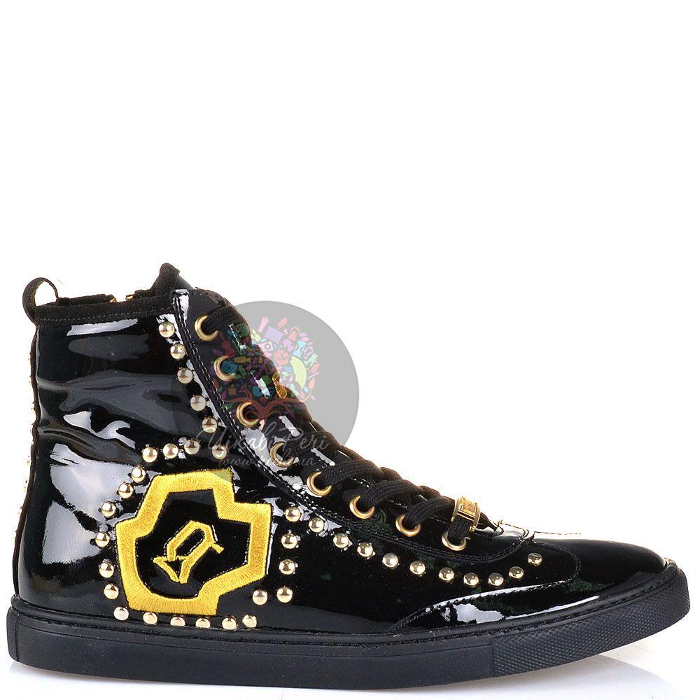Кеды Galliano высокие кожаные лаковые черные