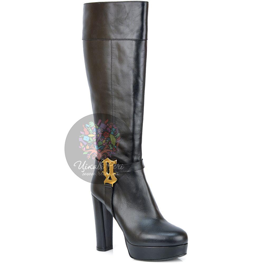 Сапоги Galliano кожаные черные на каблуке-столбике и платформе