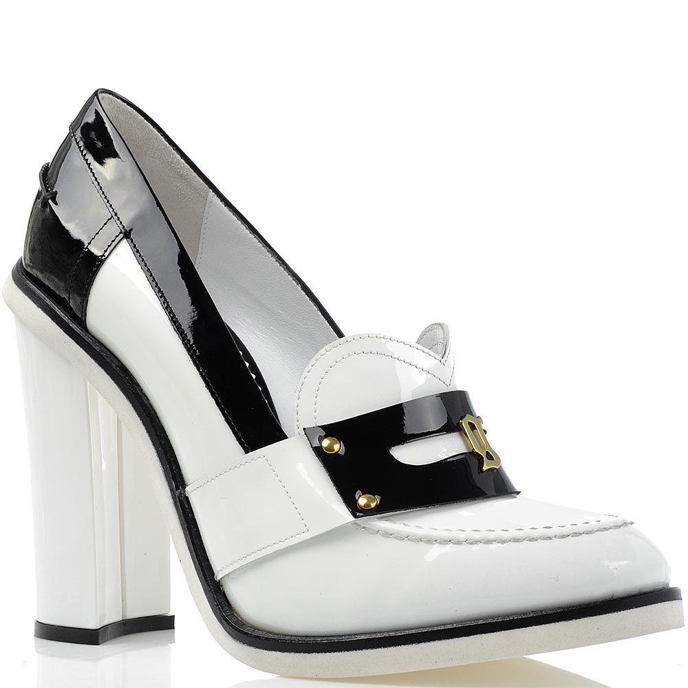 Женские туфли Galliano из сочетания черной и белой лаковой кожи