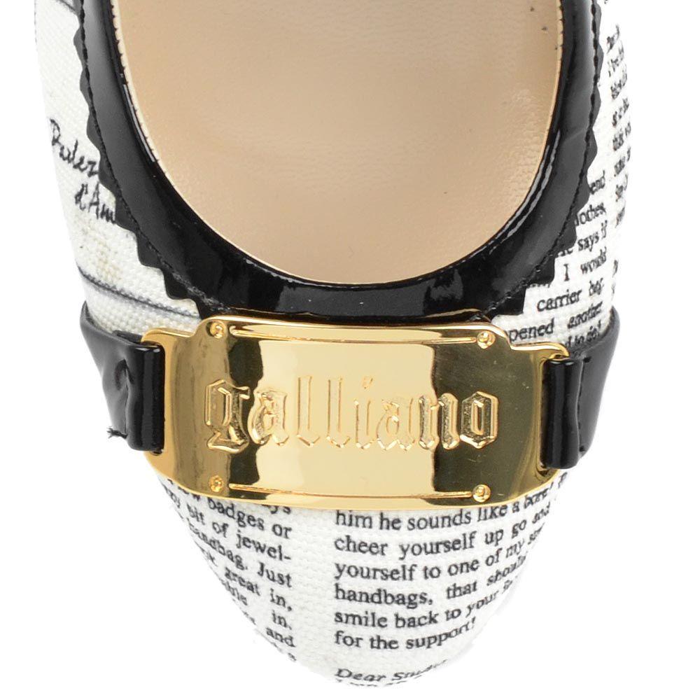 Туфли Galliano из кожи и текстиля с газетным принтом на высоком каблуке