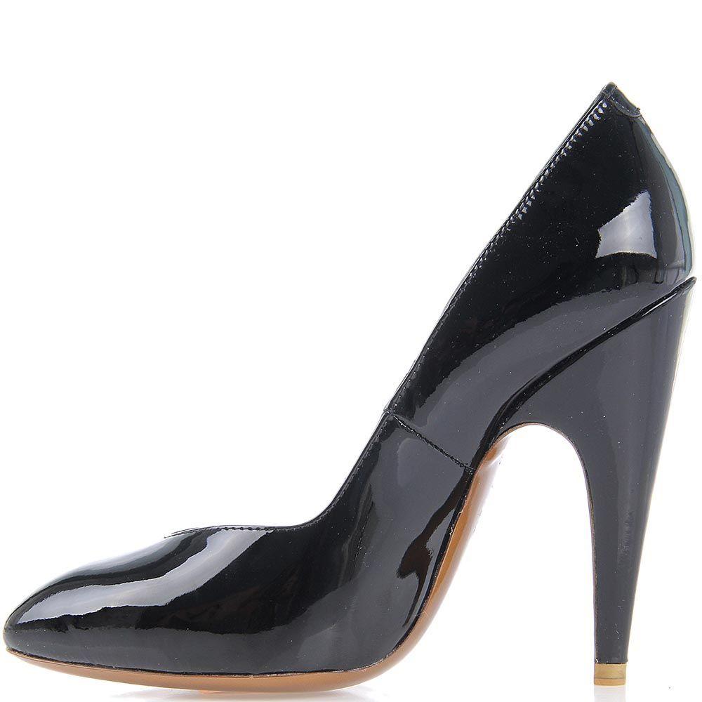 Черные лаковые туфли Giordano Torresi Germania на высоком каблуке