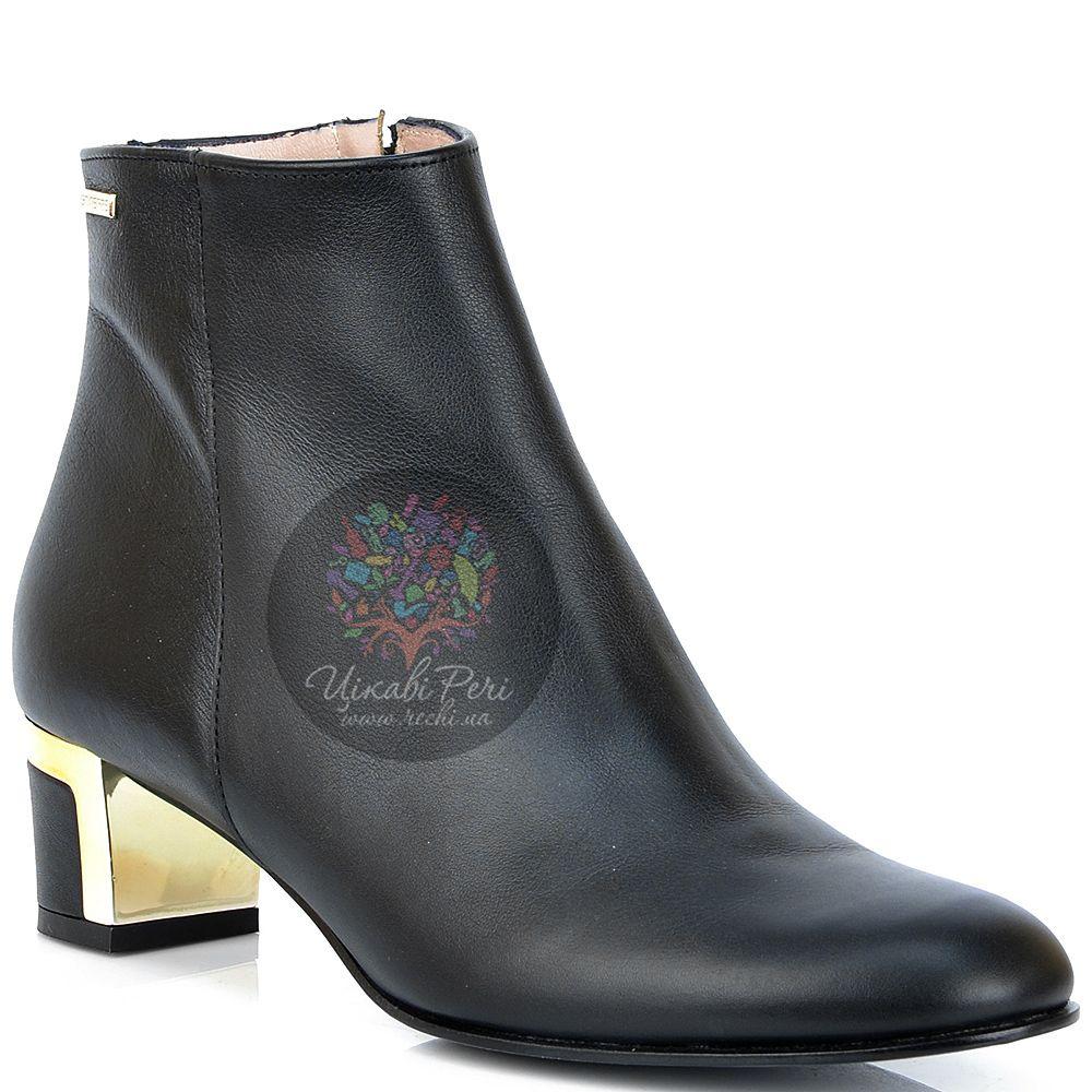 Ботинки GF Ferre из черной кожи на стильном декорированном каблуке