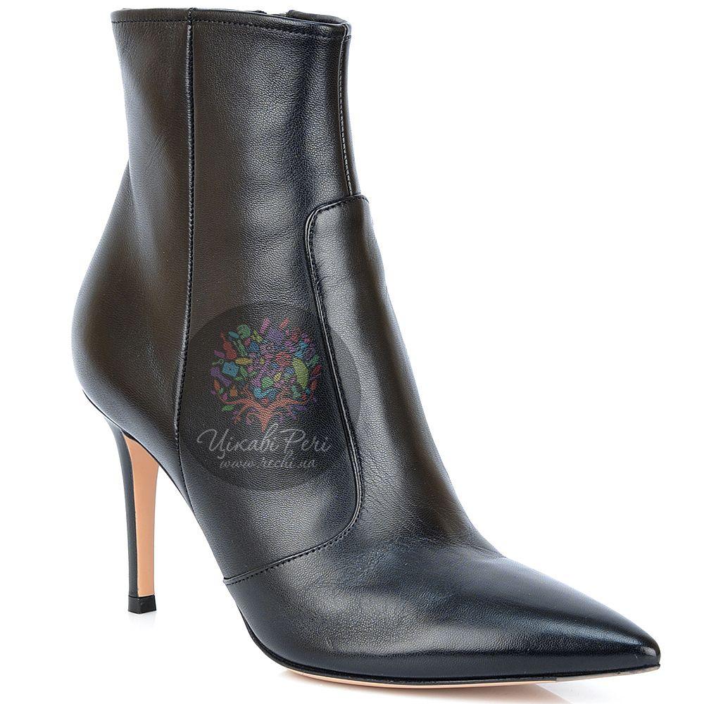 Ботинки Gianvito Rossi с острым носком осенние кожаные черные на шпильке