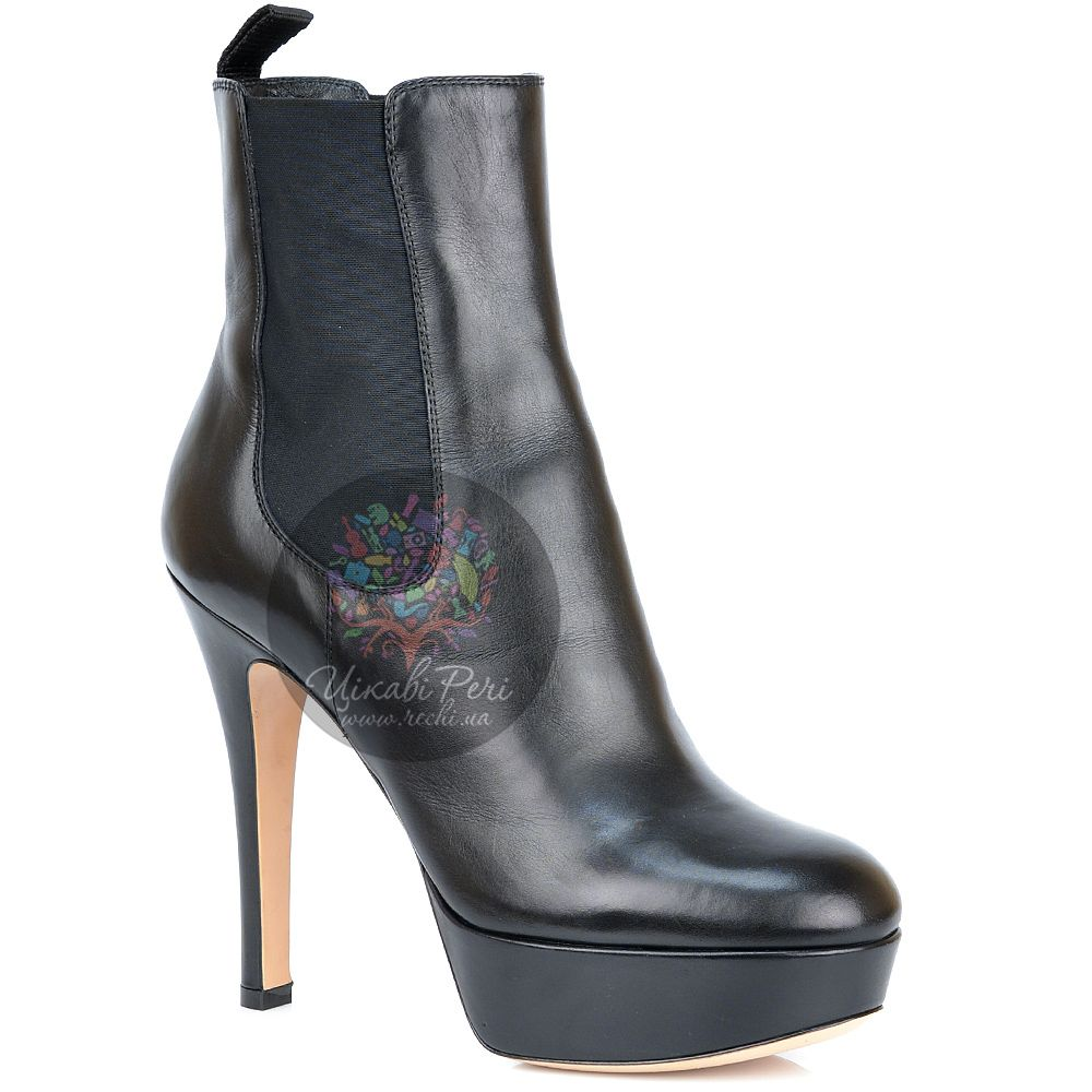 Ботинки Gianvito Rossi на шпильке и платформе черные кожаные осенние