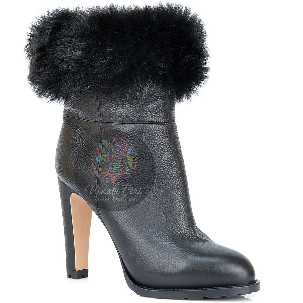 Ботинки Gianvito Rossi на меху кожаные черные с отворотом