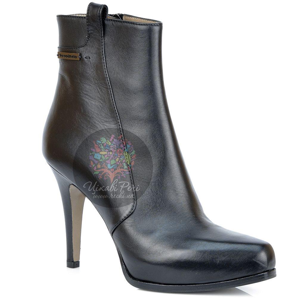 Ботинки Giorgio Fabiani осенние черные кожаные на шпильке и платформе