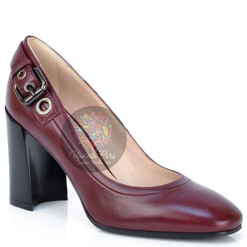 Туфли Giorgio Fabiani из бордовой кожи на модном приталенном каблуке