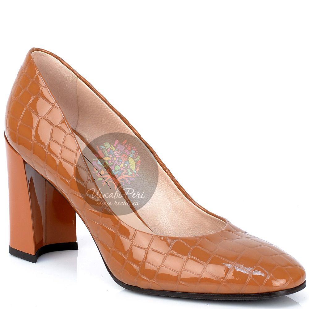 Туфли Giorgio Fabiani охристые лаковые с текстурой кожи крокодила