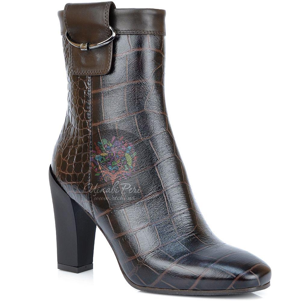 Ботинки Giorgio Fabiani осенние под кожу крокодила в коричневых тонах