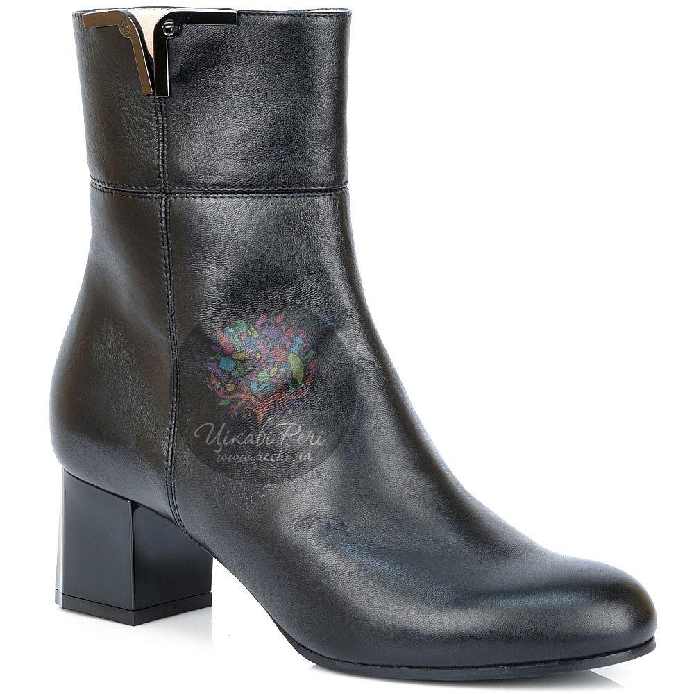 Ботинки Giorgio Fabiani осенние черные кожаные с декорированным каблуком