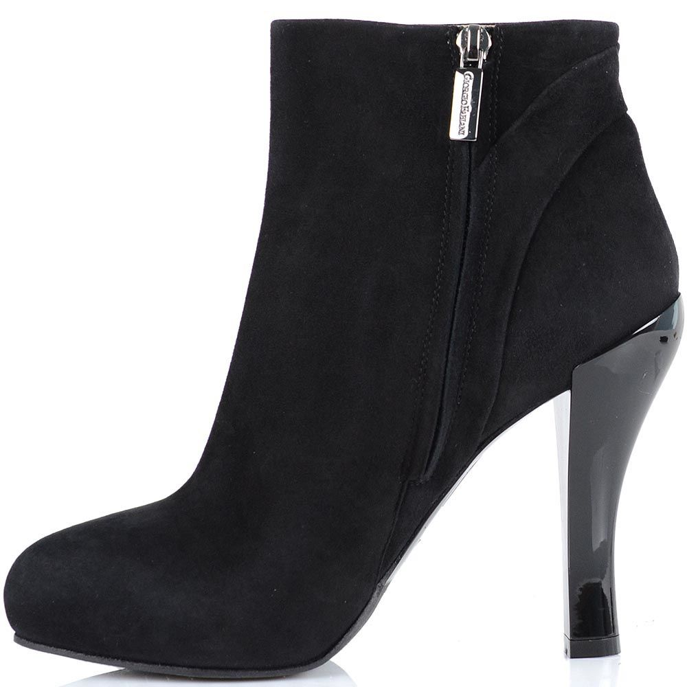 Замшевые ботинки Giorgio Fabiani из черной замши с округлым носком