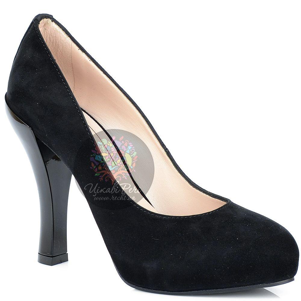 Туфли Giorgio Fabiani замшевые черные на талированном лаковом каблуке