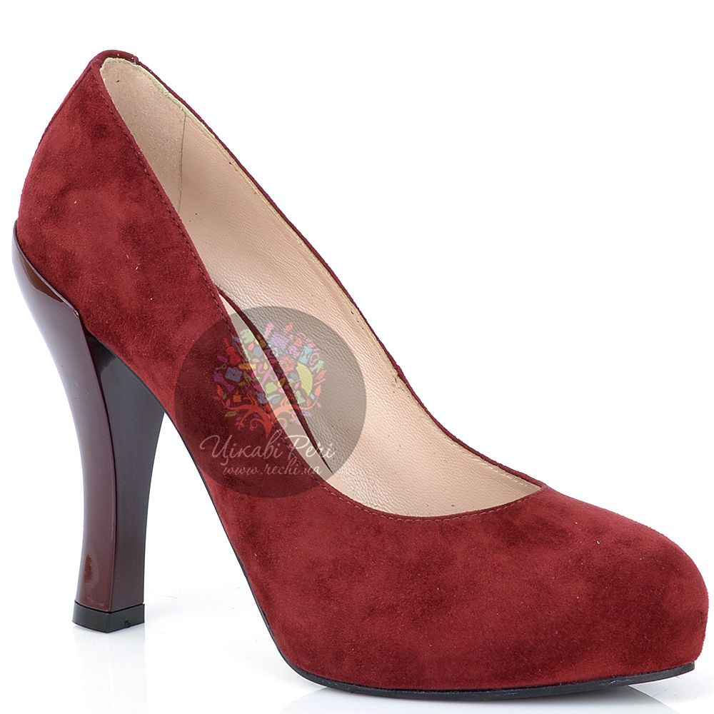Туфли Giorgio Fabiani замшевые бордовые на талированном каблуке
