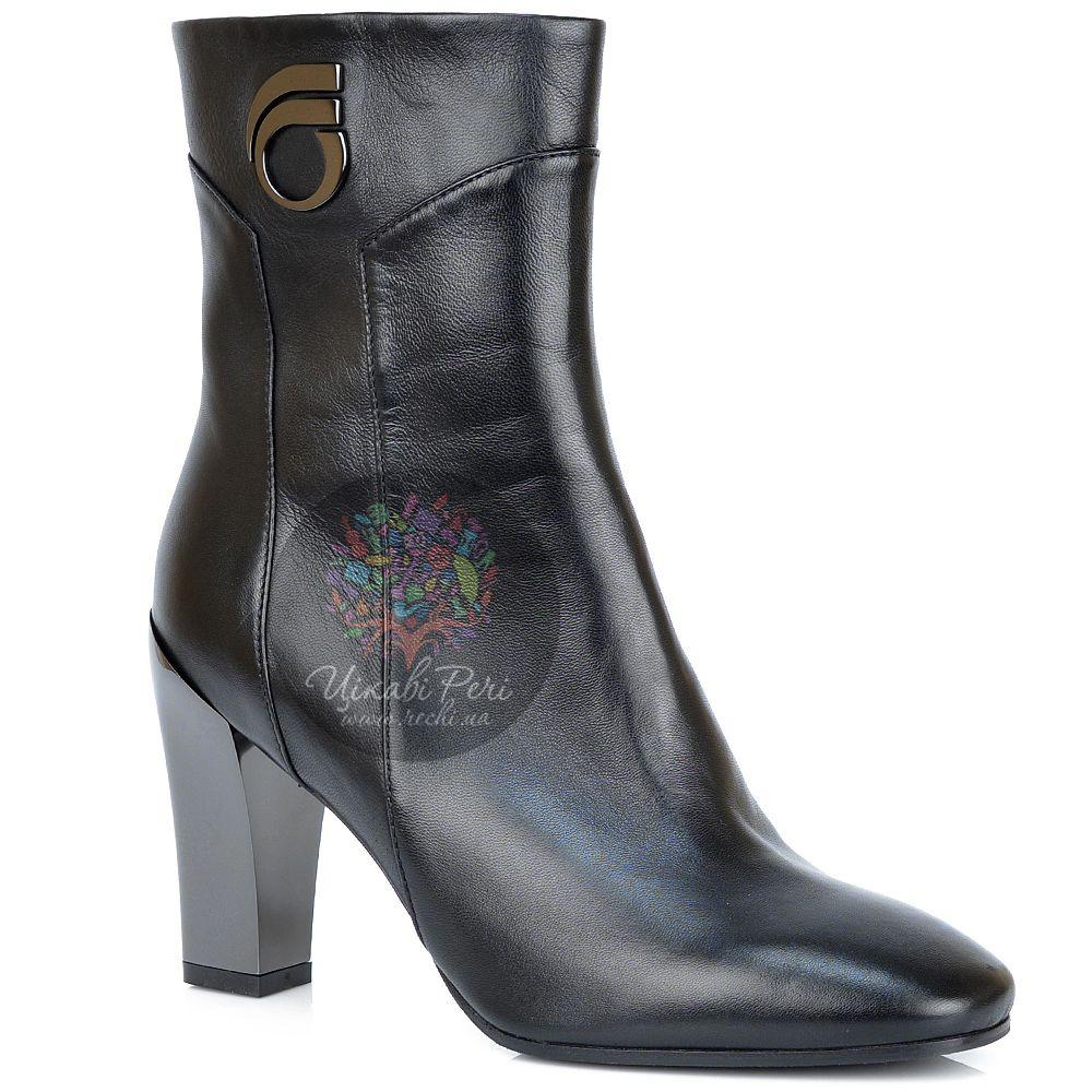 Ботинки Giorgio Fabiani осенние черные кожаные на зеркальном каблуке