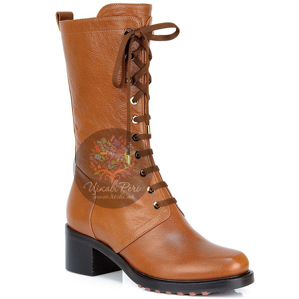 Полусапожки Giorgio Fabiani со шнуровкой рыжевато-коричневые