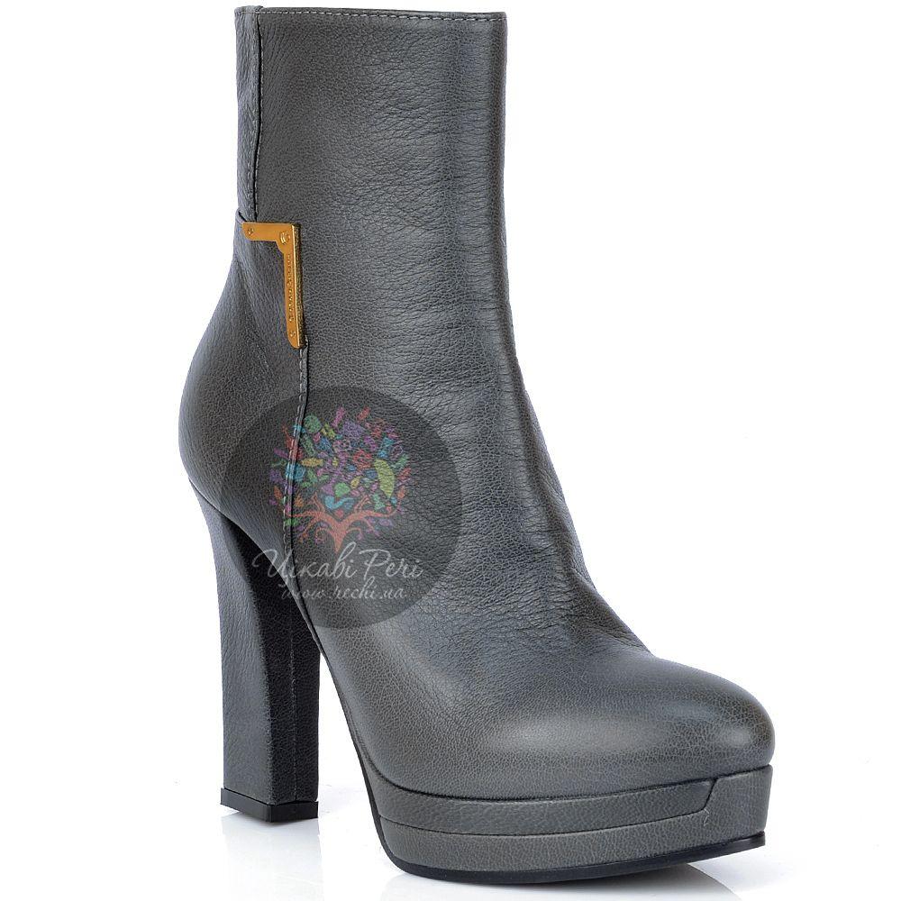 Ботинки Giorgio Fabiani осенние кожаные серые на стильном каблуке
