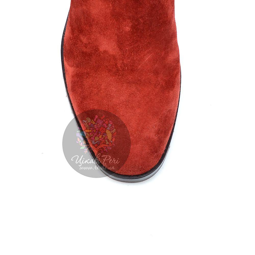 Сапоги Giorgio Fabiani осенние красные замшевые на низком удобном каблуке