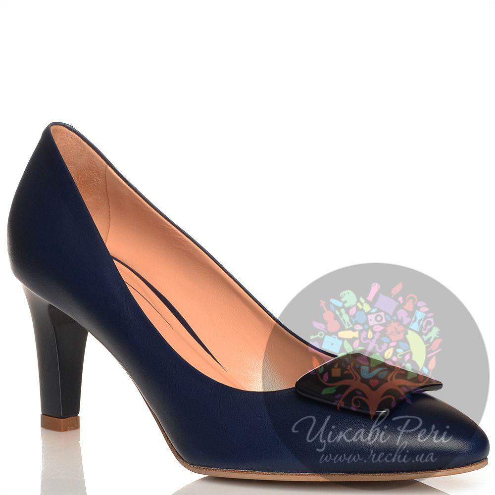 Туфли Giorgio Fabiani кожаные темно-синие на среднем каблуке