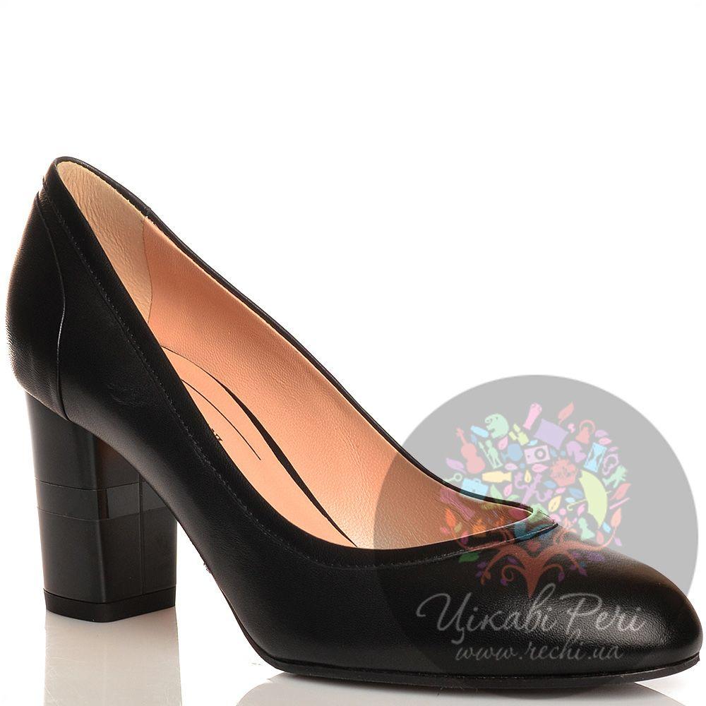 Туфли Giorgio Fabiani кожаные черные на среднем толстом каблучке