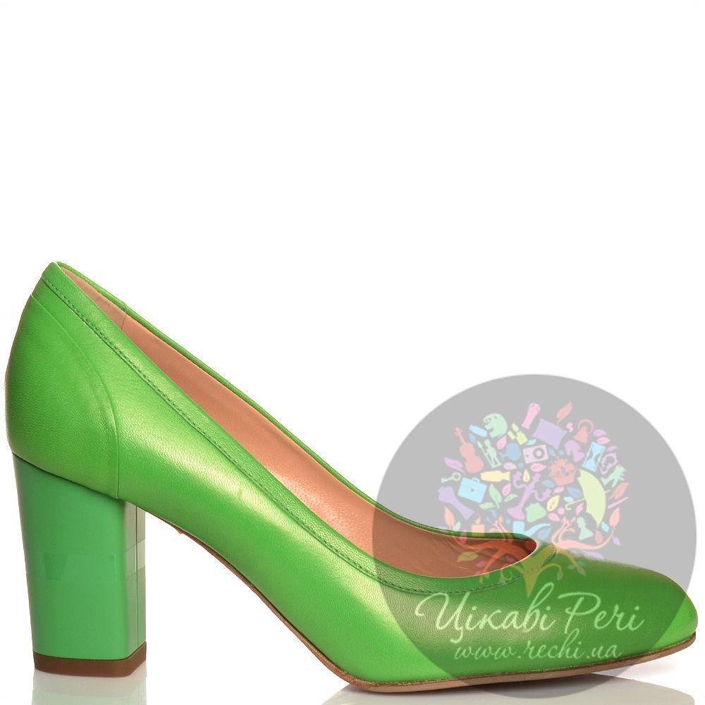 Туфли Giorgio Fabiani кожаные зеленые на среднем толстом каблучке