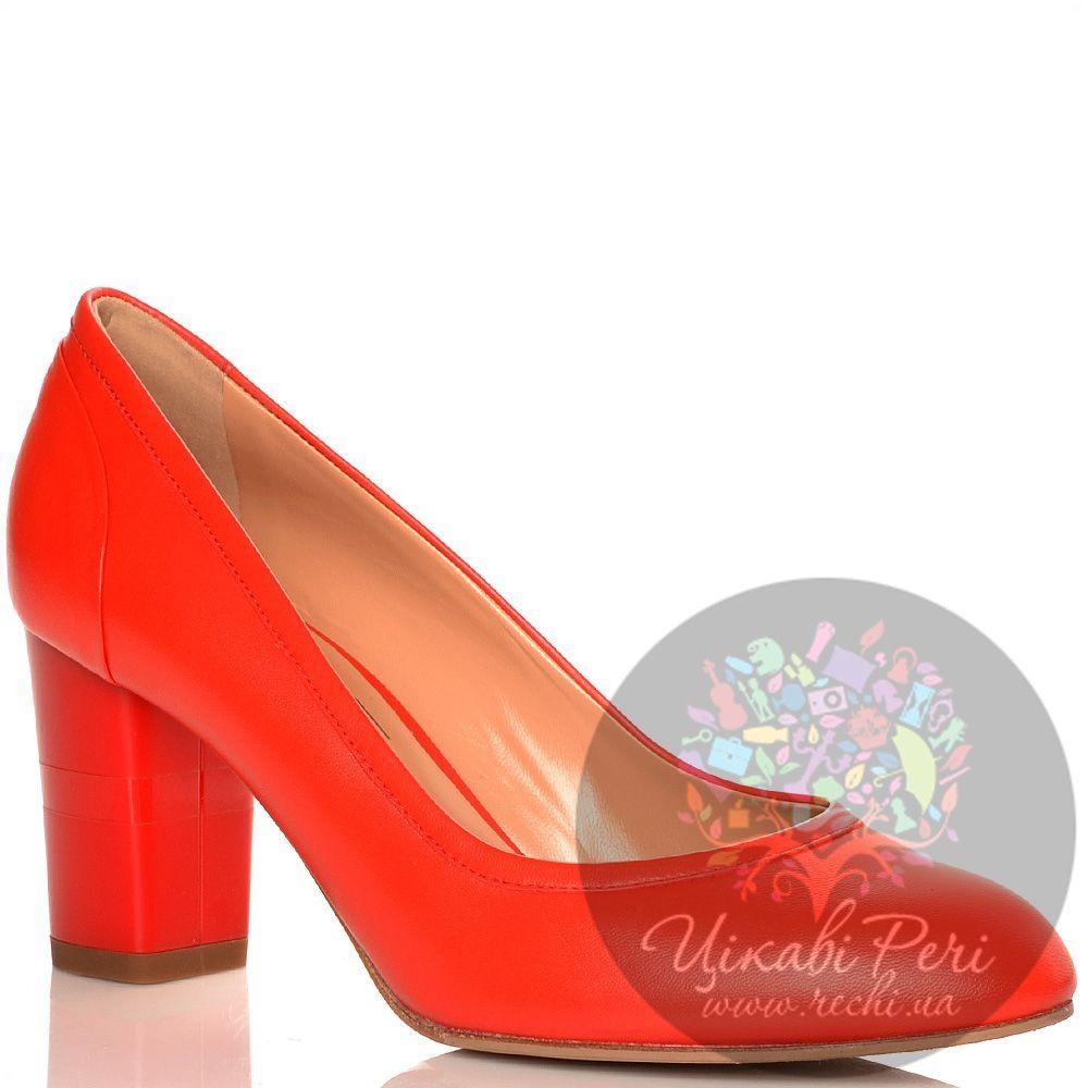 Туфли Giorgio Fabiani кожаные красные на среднем толстом каблучке